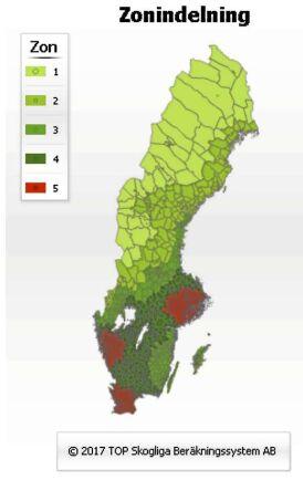 Topskogs zonindelning är framtagen i en vetenskaplig studie med kapitaltäthet och bonitet som grund. Med kapitaltäthet menas den köpkraft som församlingen har (medelinkomst gånger antalet invånare). Hänsyn tas även till omkringliggande församlingars köpkraft, som minskar med avståndet. Boniteten påverkar om än i mindre grad. Källa: Topskog