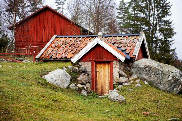 I den fint bevarade jordkällaren förvarar paret sina egenodlade rotfrukter och potatis.