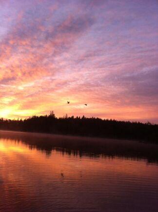 Solnedgång över Hultasjön.