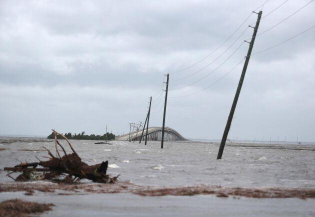 Översvämningar vid Cedar Island i samband med orkanen Dorians härjningar i början av september. Arkivbild.
