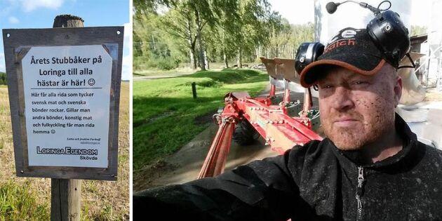 """Gårdens annorlunda krav till ryttarna: """"Ät rätt så får du rida på vår stubbåker"""""""