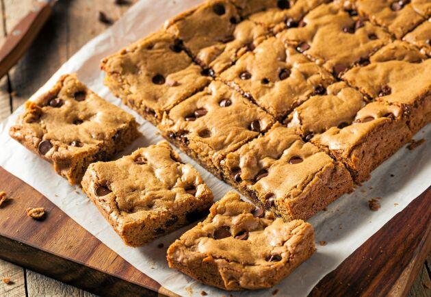 Om du vill går det lika bra att använda grovhackad mörk choklad i kakan.