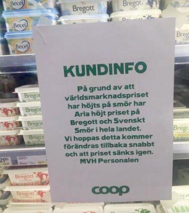 Arla har höjt priserna på Bregott och Svenskt Smör, en höjning som även påverkar konsumentpriset på dessa varor hos Coop.