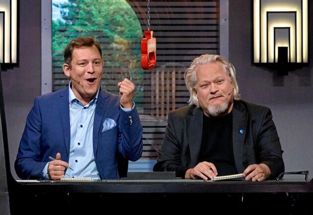 Skådespelarkollegan Eric Ericson och Kjell kompletterar varandra bra i På spåret.