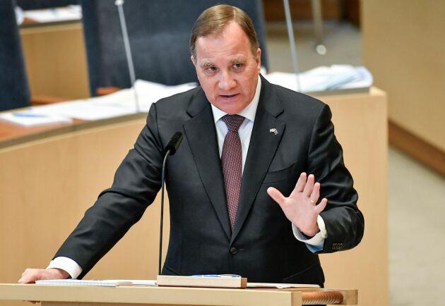 Statsminister Stefan Löfven (S) svarade på frågor i riksdagen.