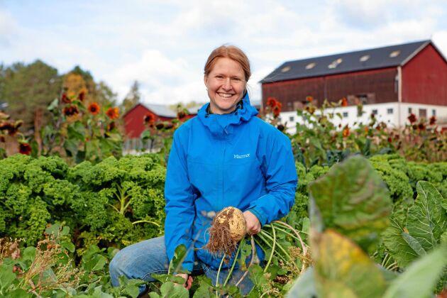 Amanda växte upp med pappans grönsaksodling och fick ovärderliga kunskaper där.