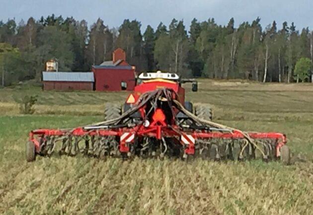 Med hjälp av såmaskinen från Väderstadsägda Seed Hawk har Christian Hidén i år sått 500 hektar höstvete och oljeväxter.
