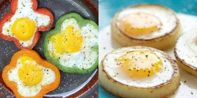 Stek ägg i en grönsaksform