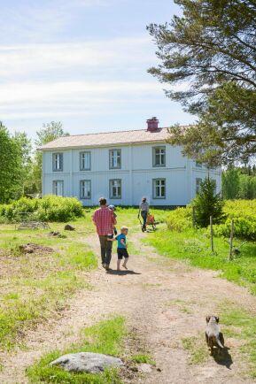 Familjens väg från båtplatsen på ön upp till huset. Elin använder skottkärran för att köra saker hon handlat.