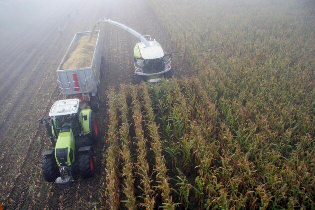 Logmaster registrerar automatiskt arbetstider i olika zoner. Här bokförs traktorns tid på majsgrödan, men när den kör upp på vägen loggas tid och bränsle i stället till vägtransport.