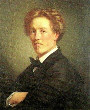 Självporträtt av den unga konststudenten August Malmström.