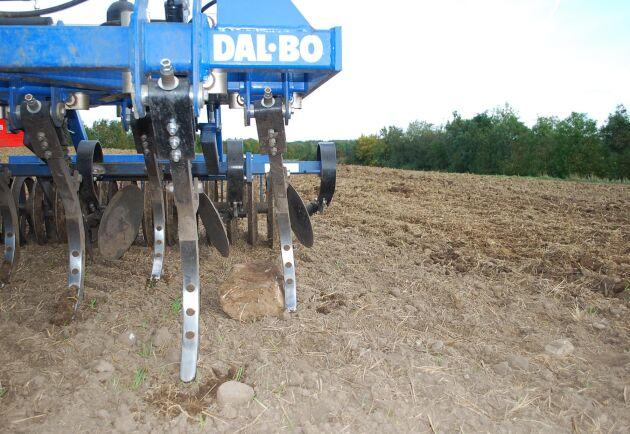 Under arbetets gång finfördelar stubbkultivatorn TriMax jord, stubb och växtrester för att skapa en jämn och fin yta.