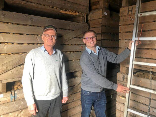 Det kan bli trångt i gårdens potatislager framöver. Målet för Anders Andersson och Axel Hörteborn är på sikt att öka avkastningen från fälten med upp till 20 procent genom att effektivisera precisionsodlingen.