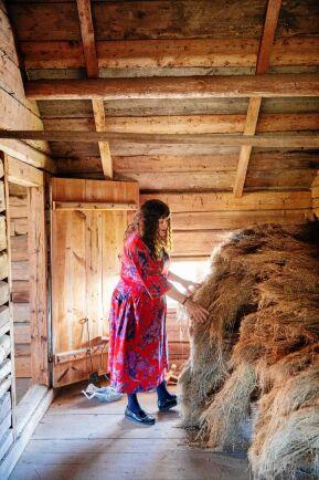 På vinden i flygeln som förr användes till sädesmagasin och höloft, ligger en stor hög med gammalt lin, fullt brukbart.