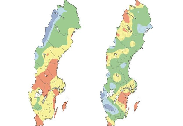 Kartor över grundvattennivåer i små magasin, till vänster, respektive stora magasin, till höger. De röda områdena avser grundvattennivåer som är mycket under det normala för årstiden. Blåa områden motsvarar över till mycket över det normala. Kartorna avser den pågående veckan.