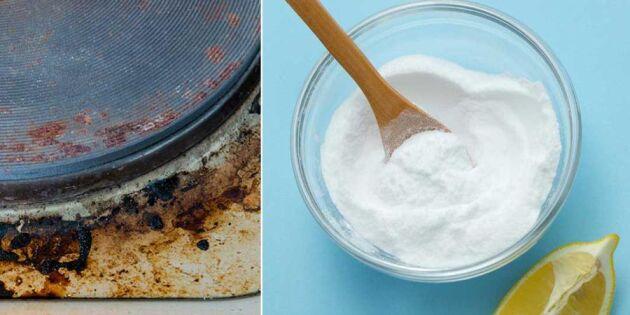 Skinande ren spis med bakpulver