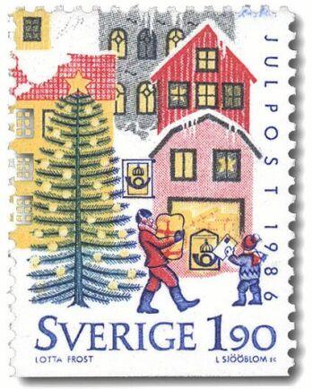 Julfrimärke av Lotta Frost 1986.