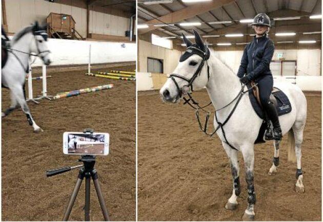 Showar framför kameran och lika bra som att rida en riktig lektion, tycker Saga Lannefeldt. Här med ponnyn Droppan.