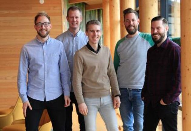 Hela innovationsteamet på Södra Skogsägarna. Från vänster: David Jonsén Innovationsutvecklare, Larz Teke Innovationsledare, Johan Thor Chef för Digital Innovation, Mikael Konradsson Innovationsutvecklare och Marthin Freij, Innovationsledare.