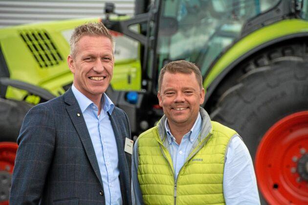 Henrik Hesby, Sverigechef för Claas, och Magnus Karlsson, regionchef på Swedish Agro Machinery, har stora förväntningar inför det nya samarbetet. Man hoppas till exempel kunna sätta fart på försäljningen av traktorer.