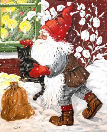 Tomten med katt och julklappssäck i gammal fin miljö ger rätta julkänslan.