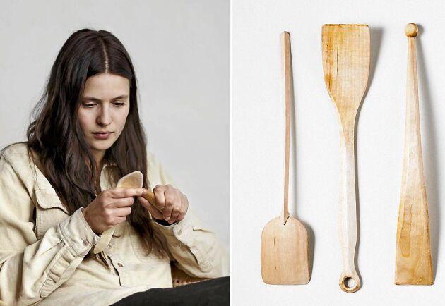 Maria Brännström Ott lär dig tälja ett stekdon i trä av björk.