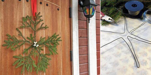 Vacker snöflinga av granris – enkelt pyssel att hänga på dörren