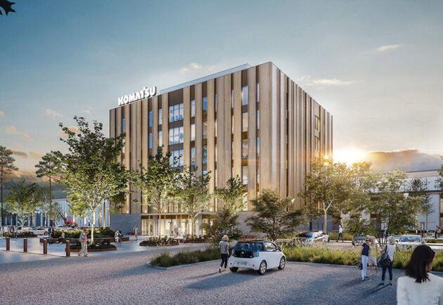I Umeå bygger Komatsu ett nytt sex-våningars kontor med stomme i massivträ.
