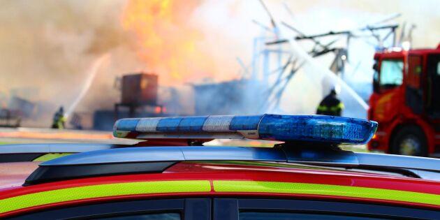 Brand i sågverk i Kalmar