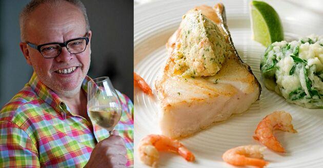 Håkan Larssons middagstips till helgen är en supergod halstrad hälleflundra med smör på rökta räkor och ruccolapuré.