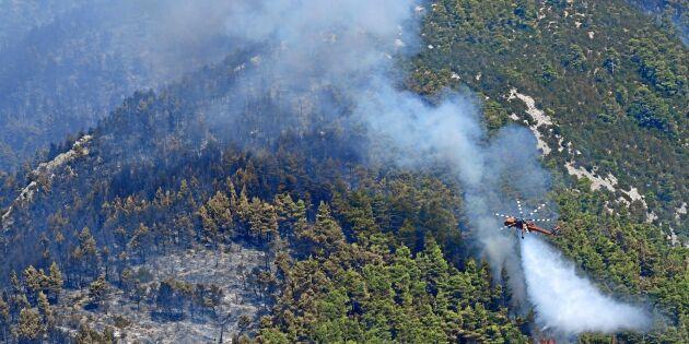 Över 1000 brandmän släcker bränder i Grekland
