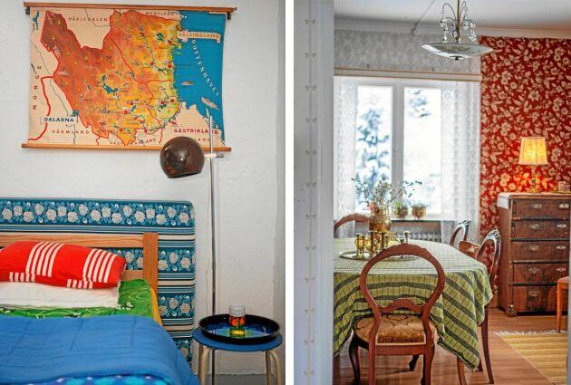 Gästrum och matsal var viktigt att ställa i ordning eftersom Linda älskar att umgås med familj och vänner. Stilen är givetvis färgglad retro.