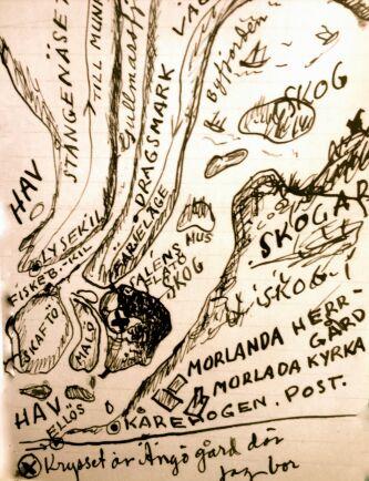 """Evert Taubes karta över Flatön. """"Krysset är Ängö gård"""", skriver han längst ned. Den handritade kartan följde med ett brev hem till Astri."""