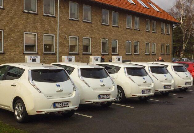 Elbilarna från Nissan står uppradade. Överskottsenergin från laddningen stöttar det lokala elnätet.