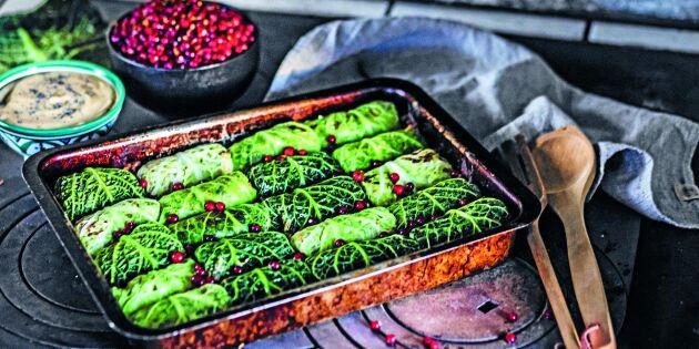 Savoykåldolmar med chililingon och misomajonnäs