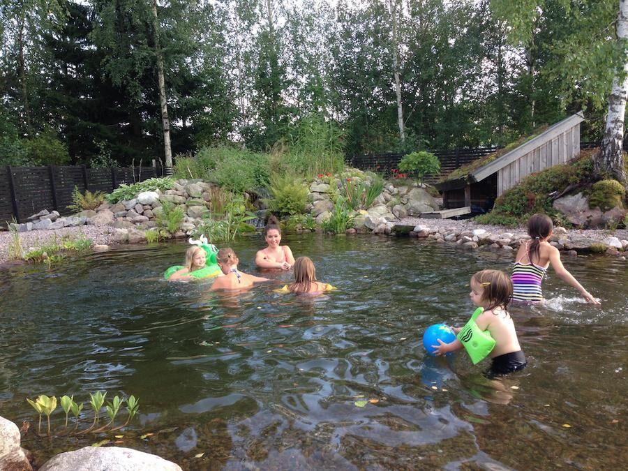 Familjen Thunborgs baddamm i Mariestad är uppdelad i en baddel och en reningsdamm med växter, framför allt vattenmynta och storvuxna gräs. Barnens kompisar passar gärna på att bada när de hälsar på. Foto: Henrik Thunborg