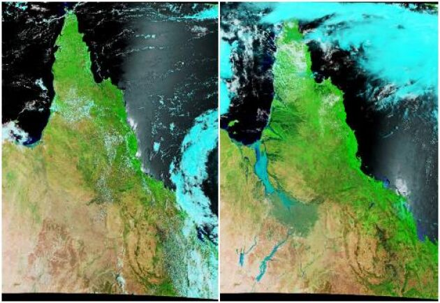 Bilden till vänster visar de gigantiska mängderna med vatten på väg mot Carpentariagulfen i norr och även ner till Lake Eyre i Södra Australien. Floder som svämmade över var:Flinders, Leichhardt, Norman, Nicholson, Gregory och Gilbert Rivers.Bild från 7 januari 2019. Bilden till höger är från 10 februari 2019.