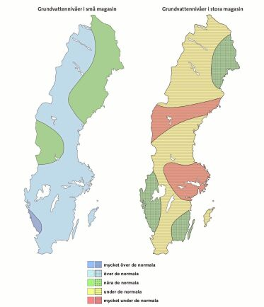 SGU:s kartläggning för grundvattennivåerna i mars månad.