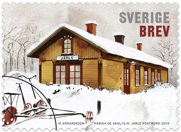 Frimärket med Järle station som motiv.