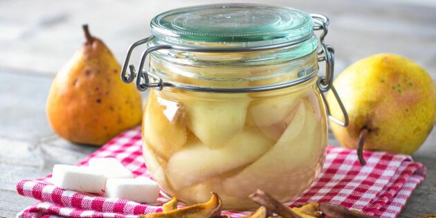 Inkokta päron på gammaldags vis – enkelt recept!