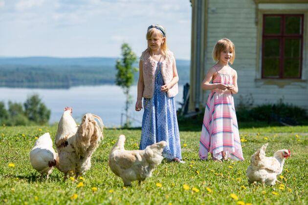 Vega och Lisa med familjens höns som de gillar att pyssla med.