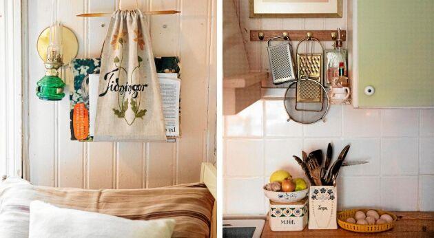"""Hemsytt """"tidningsfodral"""" och antika porslinsburkar passar fint i köket."""