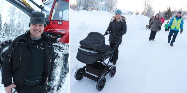 Faran över för byborna – Per skapar gångväg i snön