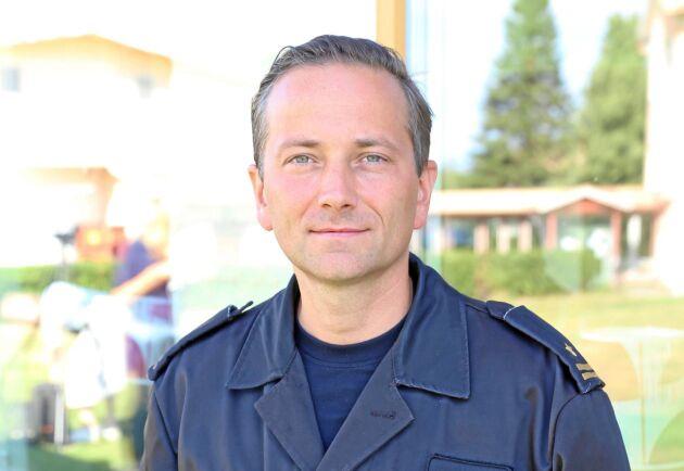 Michal Langner från Polen är en av de brandmän som rest till Färila för att hjälpa till i släckningsarbetet.