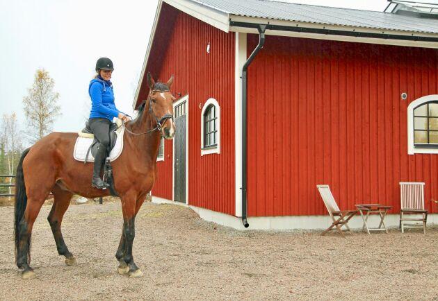 Kristina Cedrins med hopphästen Emir som är en korsning mellan holsteiner och fullblod. Kristina Cedrins och sambon David Rönnegard satsade på smarta lösningar och en bra miljö för både hästar och människor när de byggde sin hästgård på Julmyra Horse Center.