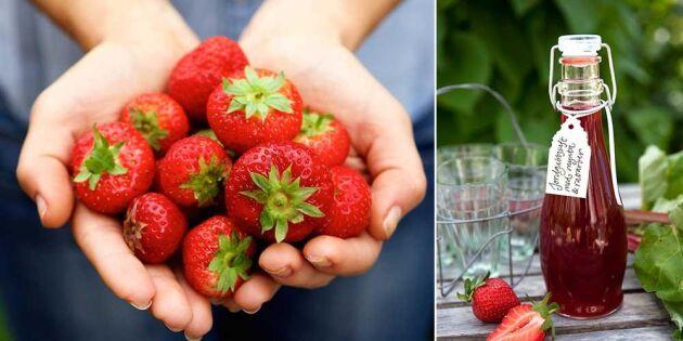 Härlig jordgubbssaft med rabarber och mynta