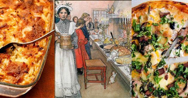 Vad vore Jansson utan ansjovis, en skarpsill kryddad med Orientens kryddor? Och pizza har blivit en svensk favorit som redan Carl och Karin Jansson brukade servera på Sundborn.