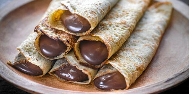 Crêpes med hemgjord Nutella