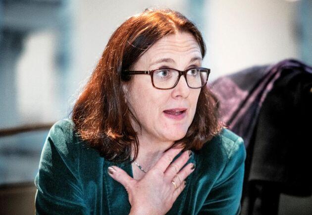 EU:s avgående handelskommissionär Cecilia Malmström säger att om USA inte backar är det troligt att EU svarar med egna tullar mot USA. Arkivbild från december 2018.