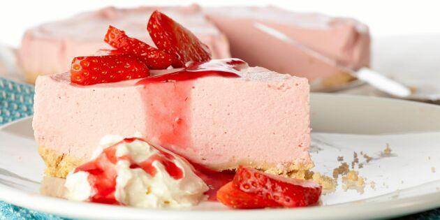 Jordgubbscheesecake med len och krämig smak